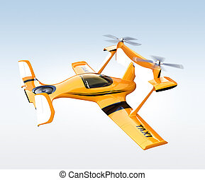 Yellow autonomous flying drone taxi flying in the sky. 3D...
