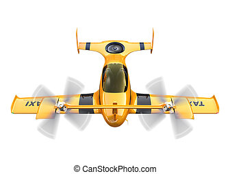 Yellow autonomous flying drone taxi isolated on white...