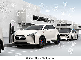 Connected cars and autonomous cars concept. 3D rendering...