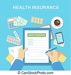 Man at the table fills in form of health insurance - Man at...