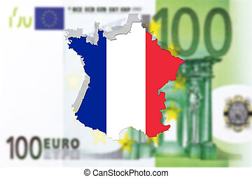 Close up on France on Euro money background
