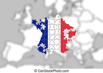 France falling apart on Europe background, puzzle concept