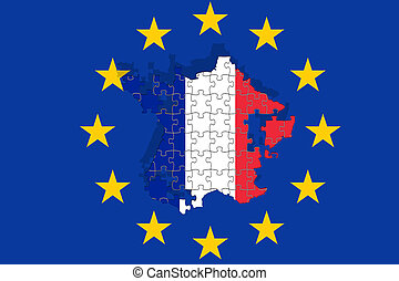 France falling apart on Euro flag background, puzzle concept