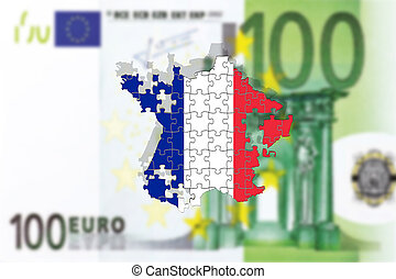 France falling apart on 100 euro background, puzzle concept