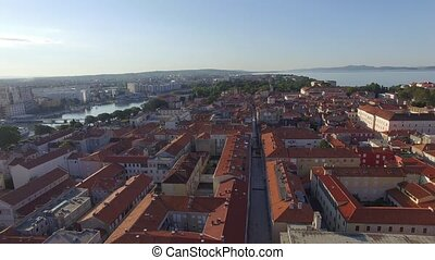 Aerial view of the old city of Zadar. - Aerial view of the...