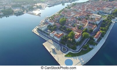 Aerial view of the old city of Zadar.
