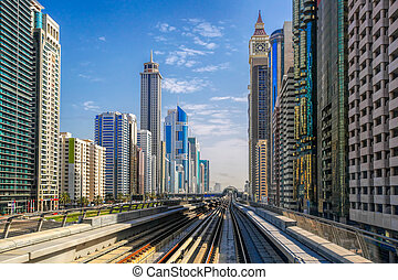 Metro train on the Red line in Dubai, United Arab Emirates