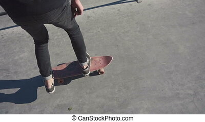 Young man failed flip trick on a skateboard in the skatepark...