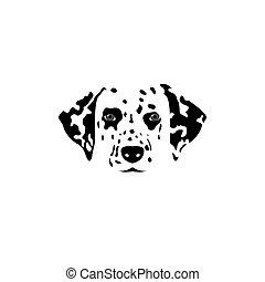Dalmatian dog logo - Isolated dalmatian dog black and white...