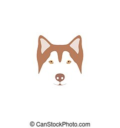 Siberian Husky illustration - Brown head of a dog breed...