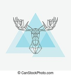 Elk head geometric lines silhouette isolated on white...