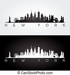 New York skyline silhouette - New York USA skyline and...