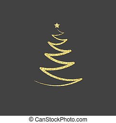 gouden, illustratie, goud, ster, boompje, symbool,  Vector, schitteren, pictogram, embleem, Kerstmis