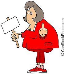 Angry protester - Illustration of a chubby, angry woman...