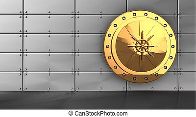 3d golden vault door