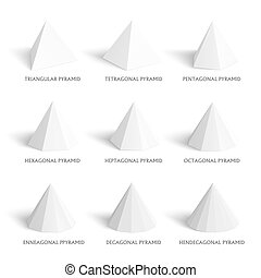 3d pyramids template. Realistic with shadow. Perfect for...