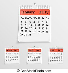 Realistic wall calendar with spring