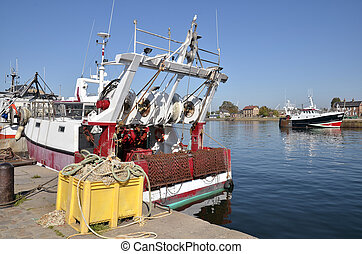 Fishing boat in the port of Honfleur in France - Fishing...