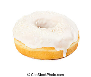 Donut with white icing and coconut