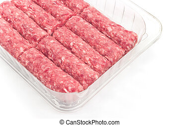 Raw kebab minced meat in plastic bowl on white