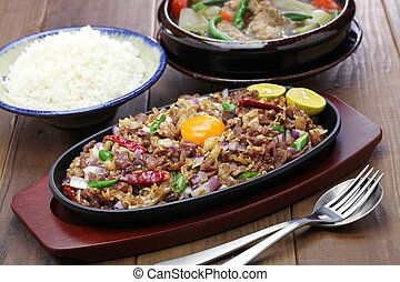 sisig and sinigang, filipino cuisine - pork sisig and...