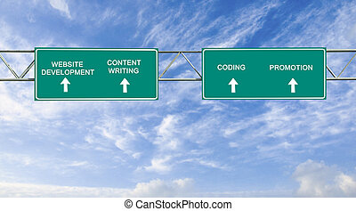 Road sign to Website Development