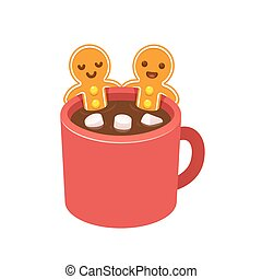Gingerbread man cookie in hot chocolate cup - Two...
