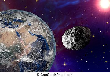 Asteroid approaching to the Earth on background with stars...
