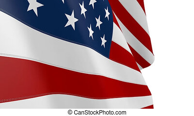 Seamless Looping Animated USA flag. American flag with...