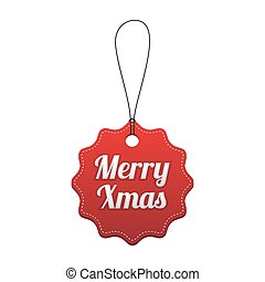 Merry Xmas. Red stitched tag. Vector illustration