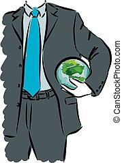 businessman with global map illustration