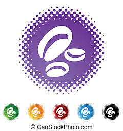 Coffee Bean web button isolated on a background.