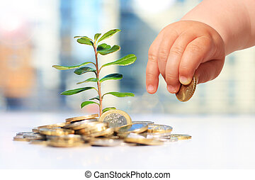 Growing plants and coins