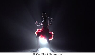 Woman dancing rumba. Slow motion - Pretty lady dancing...