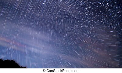 Star tracks. Spiral. Time Lapse