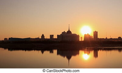 Embankment in the evening. Astana, Kazakhstan