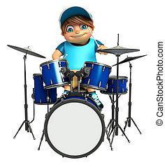 kid boy with Drum & Sticks - kid boy with  Drum & Sticks