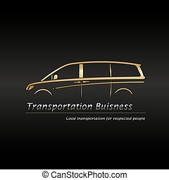 Modern gold minivan - Business card template. Modern gold...