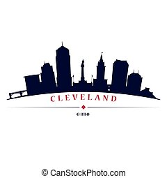 Cleveland skyline black silhouette in white background in...