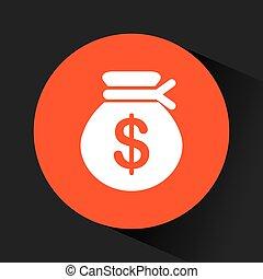 money sack icon - money sack inside orange circle over black...