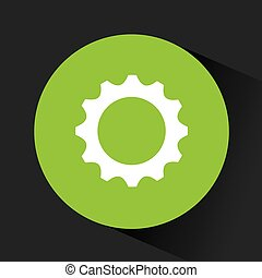 gear wheel icon inside green circle over black background....