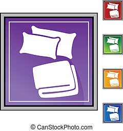Pillow Blanket web button isolated on a background