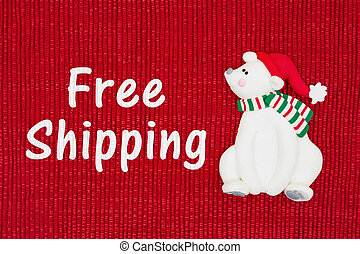 Christmas Free Shipping message, Red shiny fabric with a...