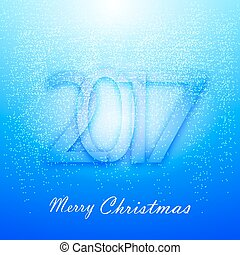 Gentle blue Christmas background with snow