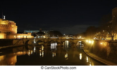 Castle Sant'Angelo, Reflection in the Tiber, Night. Rome....