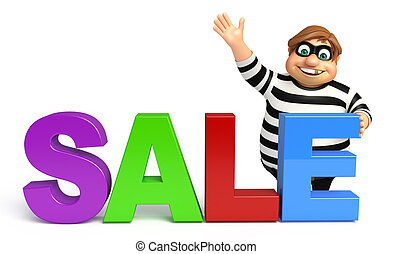 Thief with Sale sign