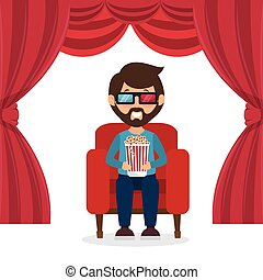 character man sitting watch 3d movie with pop corn