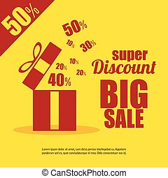 super discount big sale gift yellow background