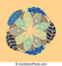 boho style design - decorative ornament with feathers and...