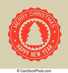 merry christmas happy new year red badge vector illustration...